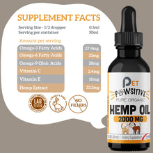 Load image into Gallery viewer, Pet Pawsitive Hemp Oil For Dogs And Cats 2000mg