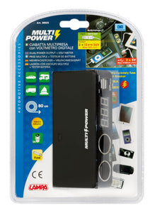 Prese accendisigari 2 Multi-Power + 2 USB e Voltmetro, 12 / 24 / 36V - truck-shopping.it