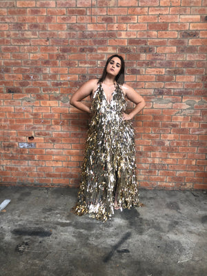 golden tinsel gown