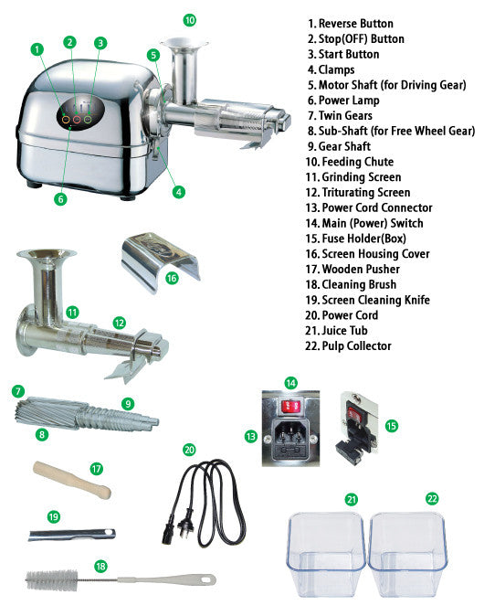 Parts of Super Angel Juicer 5500