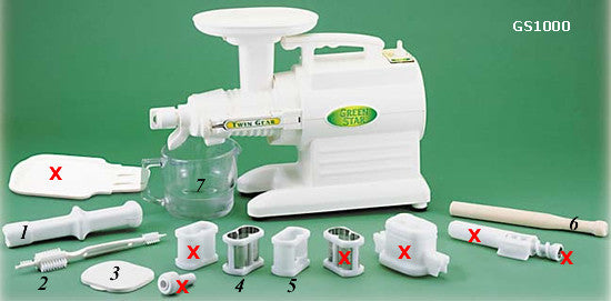 Parts with X only included with GS3000. 1-plastic plunger, 2-cleaning brush, 3-feeding chute cover, 4-fine screen, 5-homogenizing blank, 6-wooden plunger, 7-glass pitcher