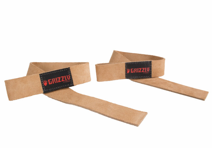 "Grizzly Fitness 1.5"" Premium Genuine Leather Weight Lifting 1.5"" Wrist Straps for Men and Women (One-Size Pair)"