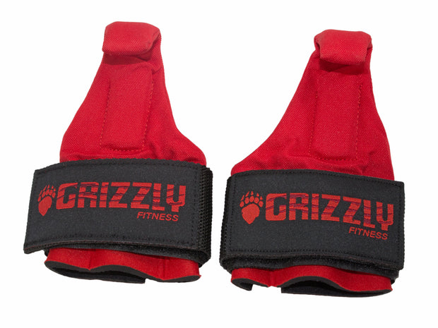 Grizzly Fitness Premium Pro Weight Lifting Hooks with Neoprene Wrist Wraps for Men and Women (One-Size Pair)