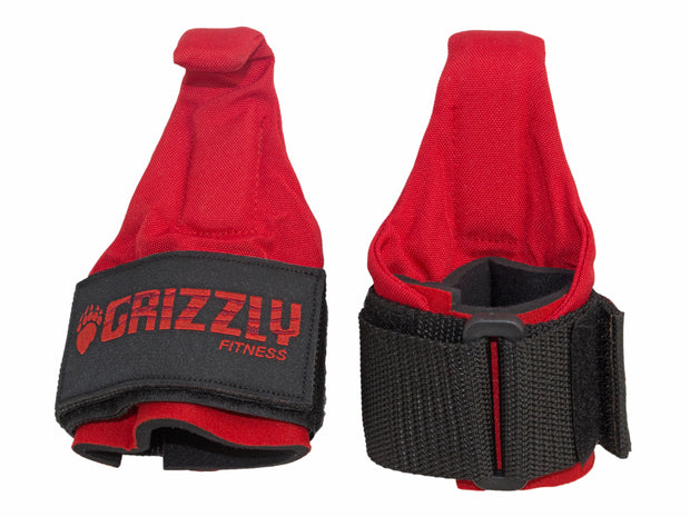 Grizzly Fitness Premium Weight Lifting Hooks with Neoprene Wrist Wraps for Men and Women (One-Size Pair)