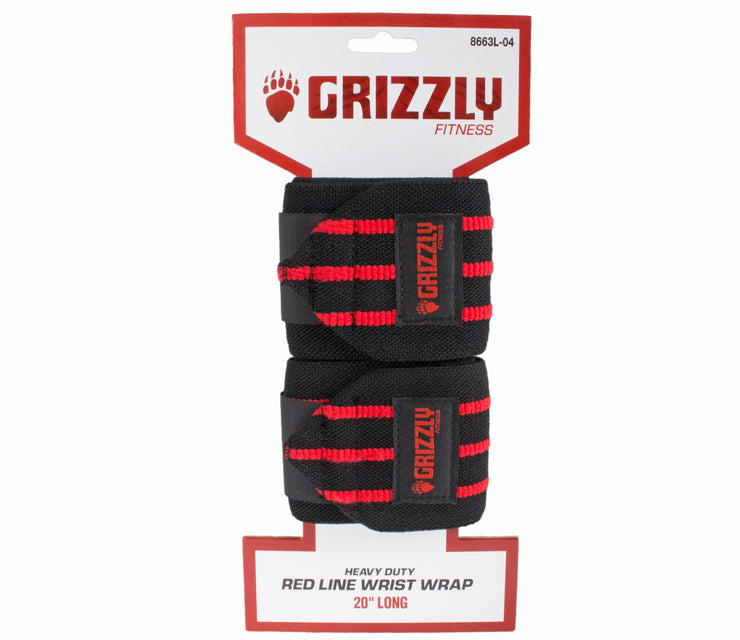 "Grizzly Fitness Pro 3"" Heavy Duty Red Line Weight Lifting Wrist Wraps for Men and Women (20"" Long One-Size Pair)"