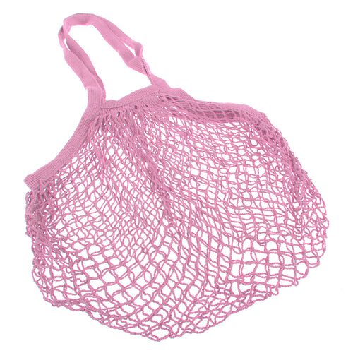 Sachi Cotton String Bag Long Handle - Pastel Pink