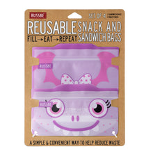 Load image into Gallery viewer, Russbe Reusable Snack/Sandwich Bags Set of 4 - Purple Monster