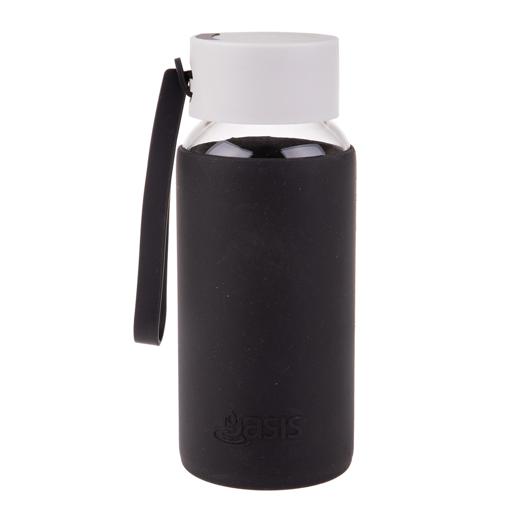 Oasis Glass Water Bottle 500ml - Black