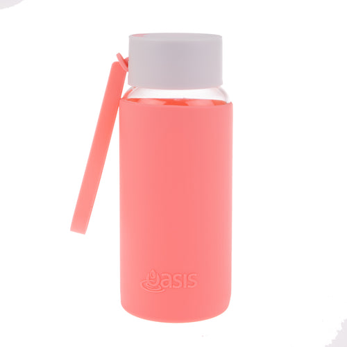 Oasis Glass Water Bottle 500ml - Coral