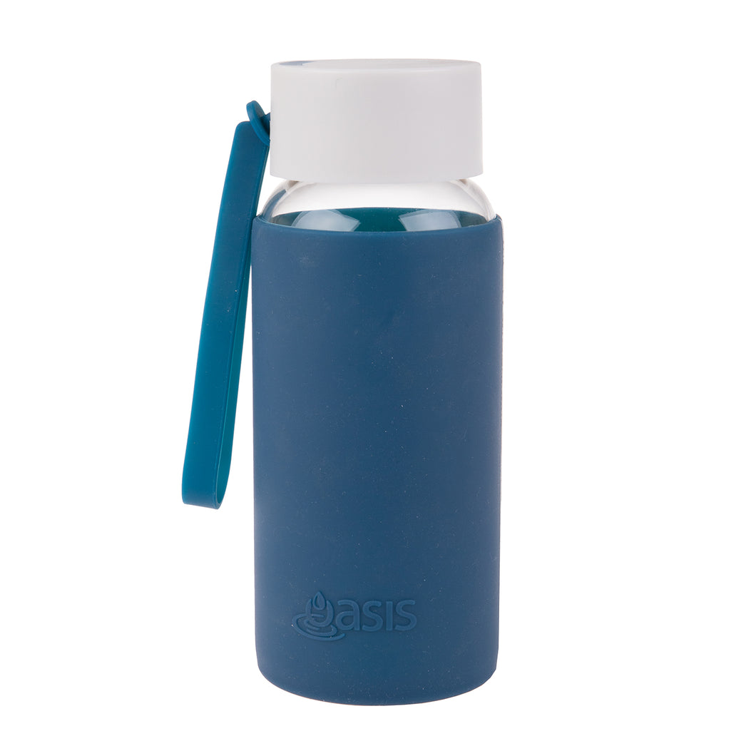 Oasis Glass Water Bottle 500ml - Navy