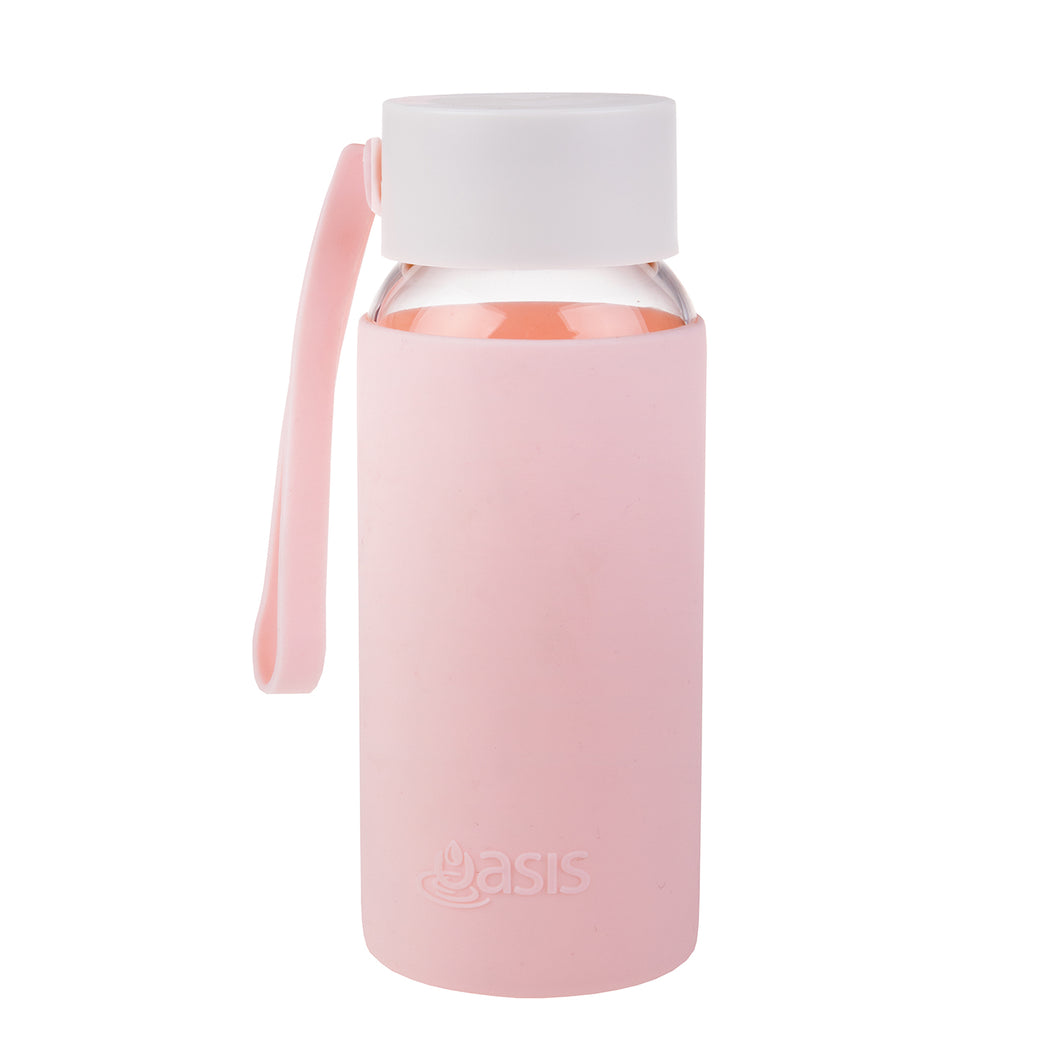 Oasis Glass Water Bottle 500ml - Pink