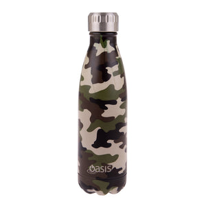 Oasis Stainless Steel Insulated Water Bottle 500ml - Camo Green