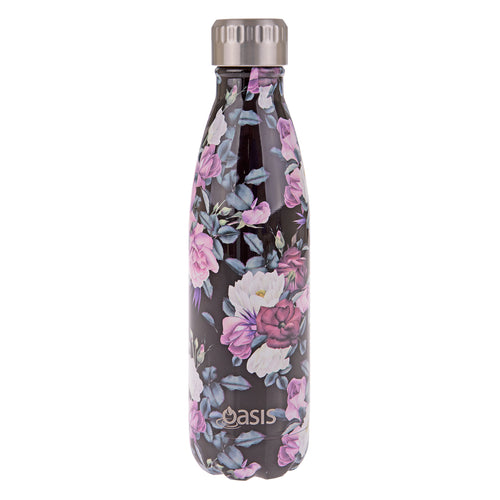 Oasis Stainless Steel Insulated Water Bottle 500ml - Midnight Floral