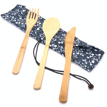 Load image into Gallery viewer, Bamboo 3 Piece Cutlery Set
