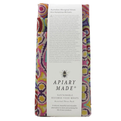 Apiary Made 3pk Beeswax Wraps - Australian Aboriginal Artists