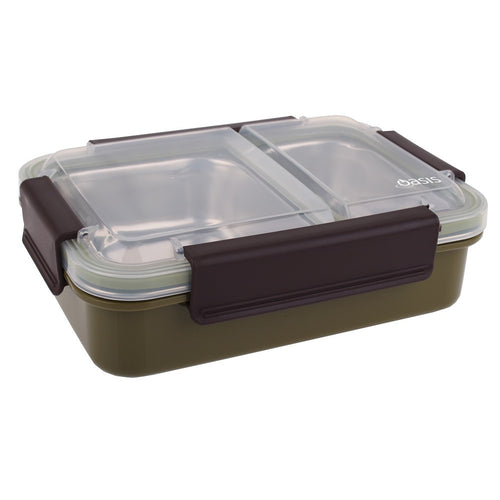 Oasis Stainless Steel 2 Compartment Lunch Box - Khaki