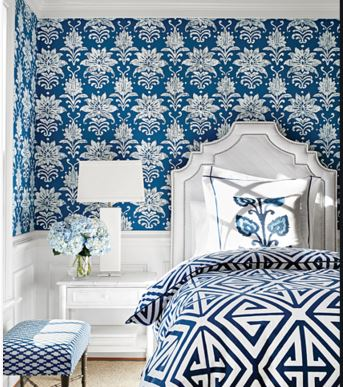 Blue and white wallpaper Gaudion Furniture