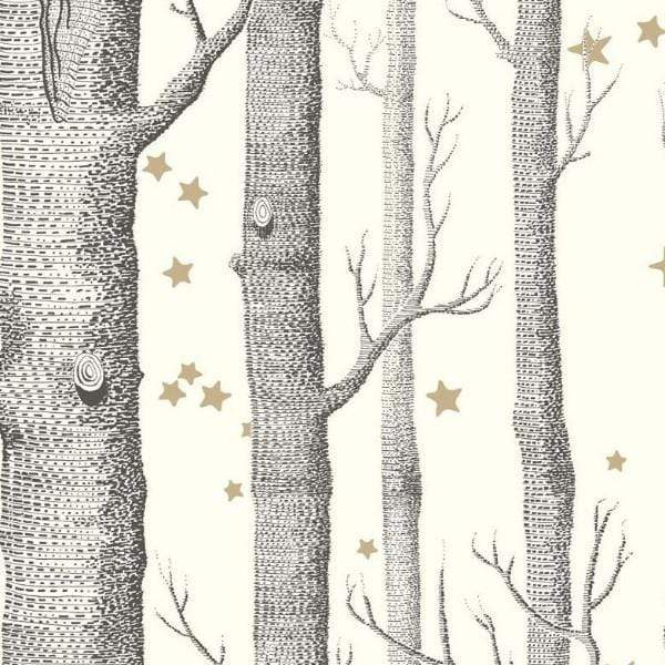 Cole and Son Wallpaper 1 x White & Black Woods & Stars Wallpaper Roll Cole & Son Woods and Stars Wallpaper