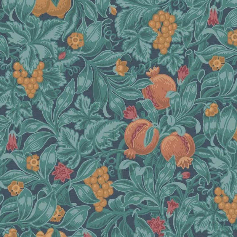 Cole & Son Wallpaper 1 x Burnt Orange & Teal on Petrol Vines of Pomona Wallpaper Roll Cole and Son The Pearwood Vines of Pomona Wallpaper