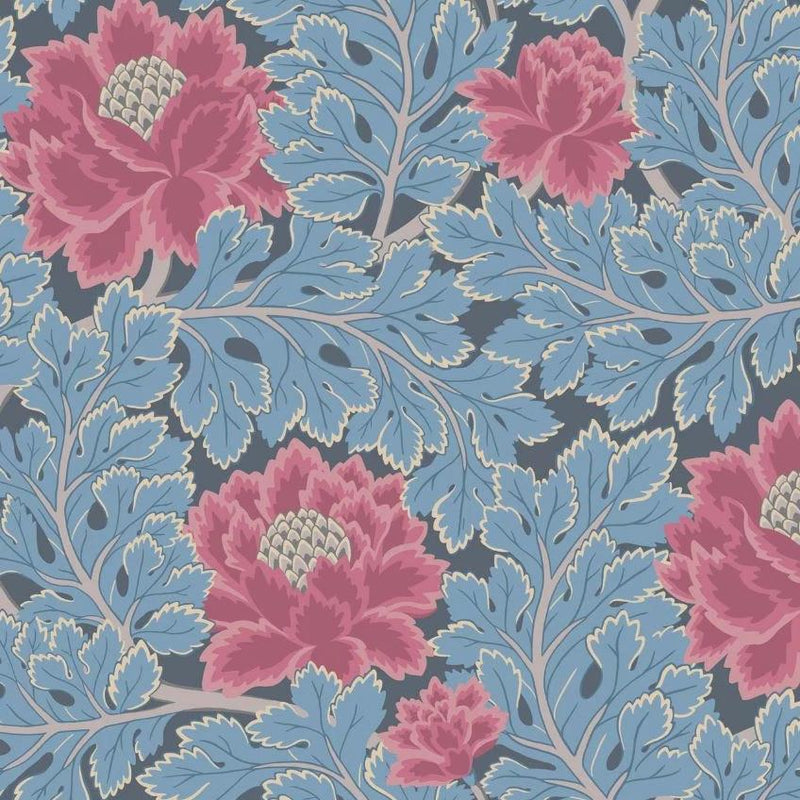 Cole & Son Wallpaper 1 x Cerise & Cerulean Blue on Midnight Aurora Wallpaper Roll Cole and Son The Pearwood Aurora Wallpaper