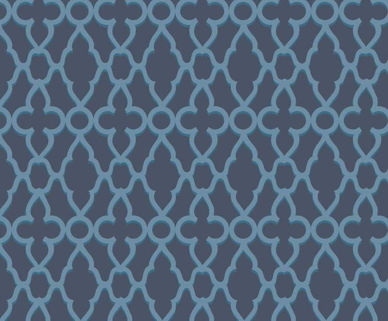 Cole & Son Wallpaper 1 x Cerulean Blue on Midnight Treillage Wallpaper Roll Cole and Son The Pearwood Treillage Wallpaper