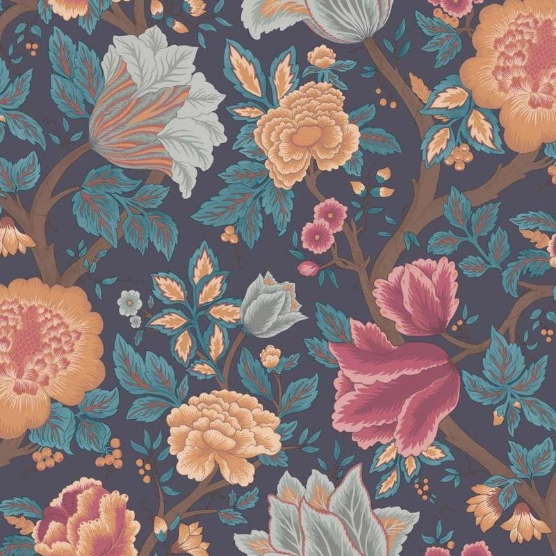 Cole & Son Wallpaper 1 x Chartreuse, Rouge & Leaf Green on Parchment Midsummer Bloom Wallpaper Cole and Son The Pearwood Midsummer Bloom Wallpaper