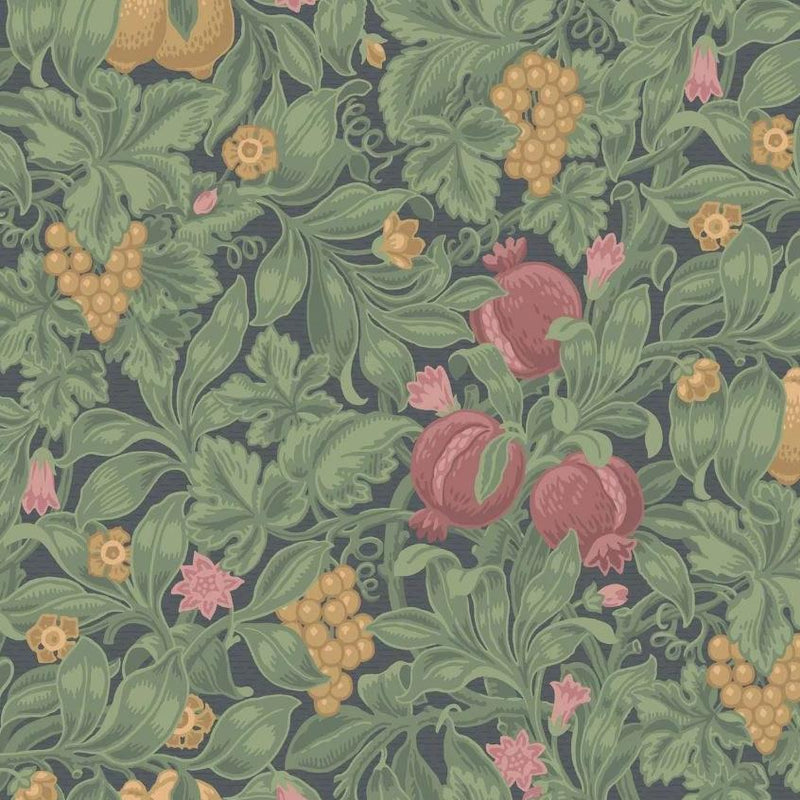 Cole & Son Wallpaper 1 x Crimson & Olive on Charcoal Vines of Pomona Wallpaper Roll Cole and Son The Pearwood Vines of Pomona Wallpaper