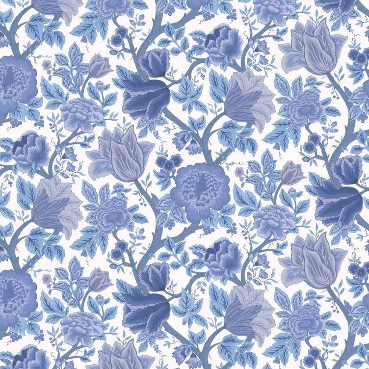 Cole & Son Wallpaper 1 x Hyacinth Blues on Chalk Midsummer Bloom Wallpaper Roll Cole and Son The Pearwood Midsummer Bloom Wallpaper