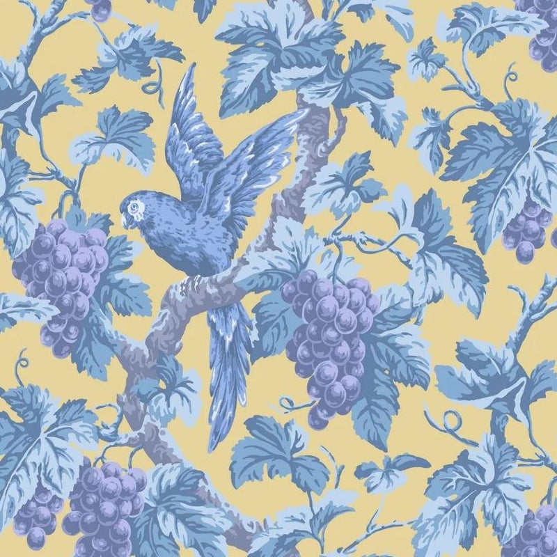 Cole & Son Wallpaper 1 x Hyacinth, Lilac & China Blue on Ochre Woodvale Orchard  Wallpaper Roll Cole and Son The Pearwood Woodvale Orchard Wallpaper
