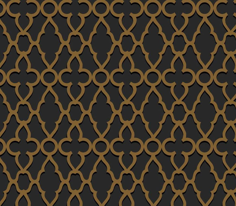 Cole & Son Wallpaper 1 x Metallic Bronze on Charcoal Treillage Wallpaper Roll Cole and Son The Pearwood Treillage Wallpaper