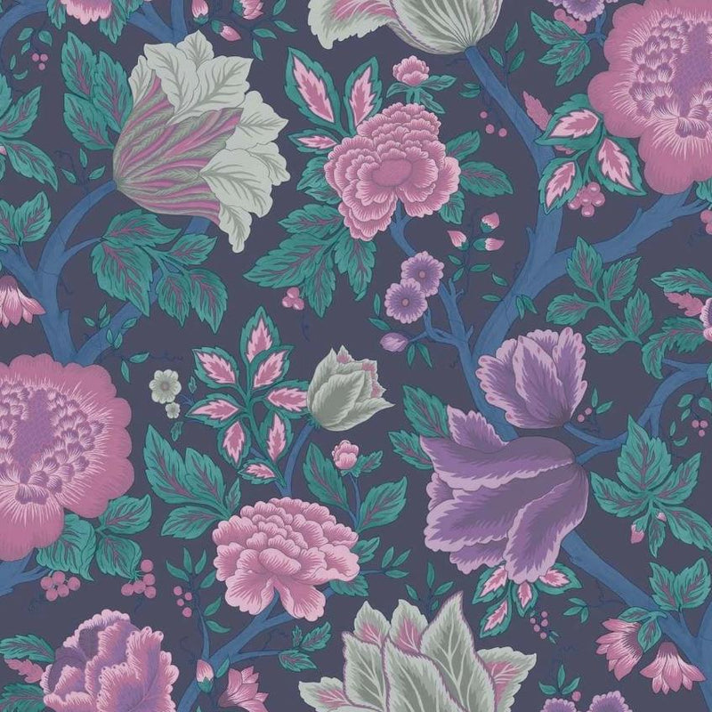 Cole & Son Wallpaper 1 x Mulberry, Purple & Teal on Ink Midsummer Bloom Wallpaper Roll Cole and Son The Pearwood Midsummer Bloom Wallpaper