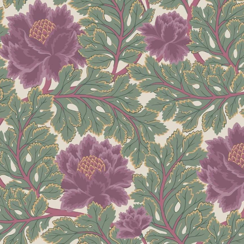 Cole & Son Wallpaper 1 x Mulberry & Sage on Parchment Aurora Wallpaper Roll Cole and Son The Pearwood Aurora Wallpaper