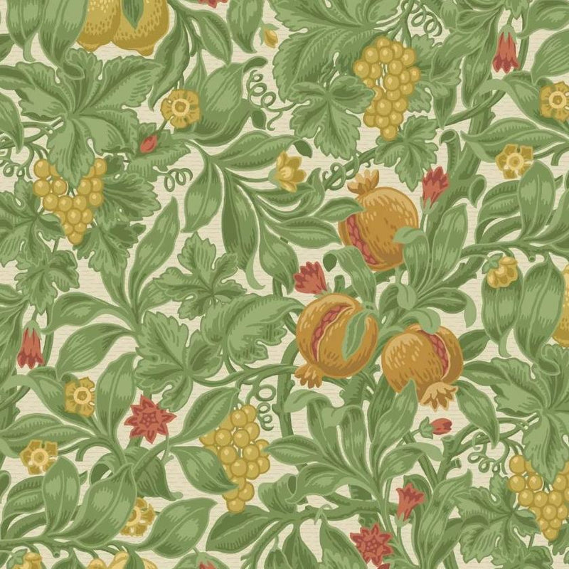 Cole & Son Wallpaper 1 x Ochre & Olive Green on Cream Vines of Pomona Wallpaper Roll Cole and Son The Pearwood Vines of Pomona Wallpaper