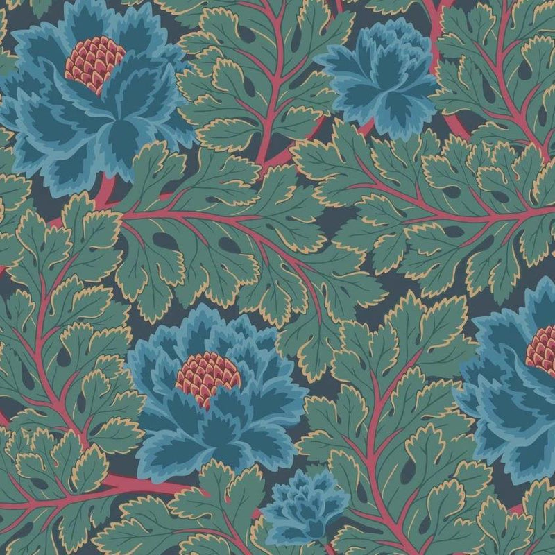 Cole & Son Wallpaper 1 x Petrol & Teal on Ink Aurora Wallpaper Roll Cole and Son The Pearwood Aurora Wallpaper