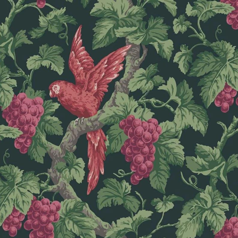 Cole & Son Wallpaper 1 x Ruby, Rose & Olive Green on Charcoal Woodvale Orchard  Wallpaper Roll Cole and Son The Pearwood Woodvale Orchard Wallpaper