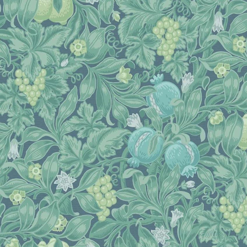 Cole & Son Wallpaper 1 x Teal & Viridian on Denim Vines of Pomona Wallpaper Cole and Son The Pearwood Vines of Pomona Wallpaper