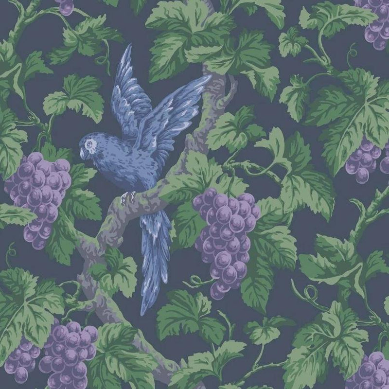 Cole & Son Wallpaper 1 x Violet, Purple & Forest on Ink Woodvale Orchard Wallpaper Roll Cole and Son The Pearwood Woodvale Orchard Wallpaper
