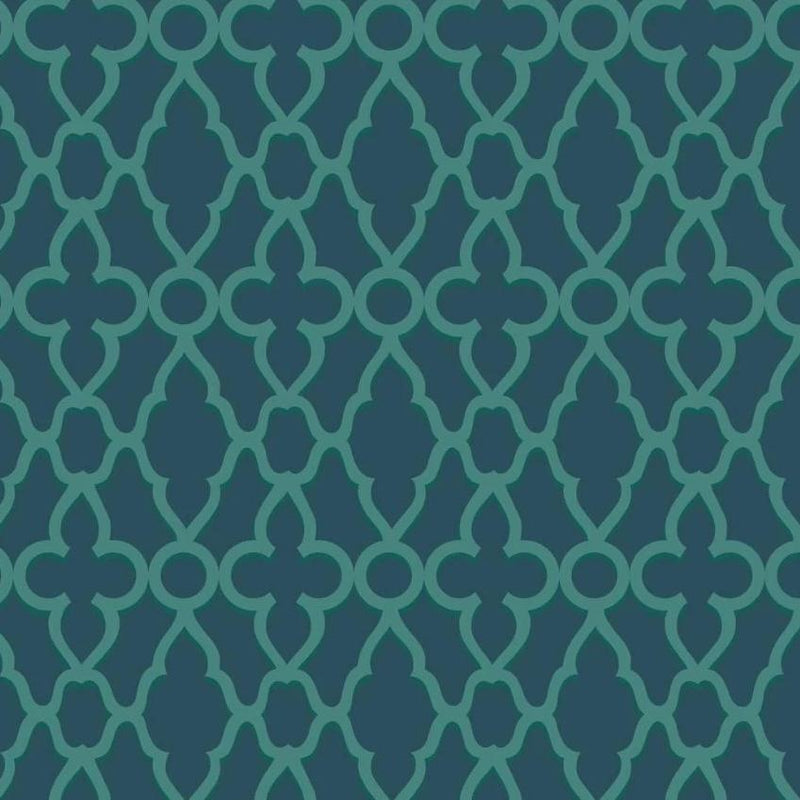 Cole & Son Wallpaper 1 x Viridian on Ink Treillage Wallpaper Roll Cole and Son The Pearwood Treillage Wallpaper