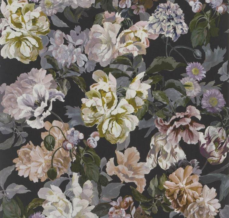 Designers Guild Wallpaper 1 x  Charcoal Delft Flower Wallpaper Roll Designers Guild Delft Flower Wallpaper - 5 Colourways