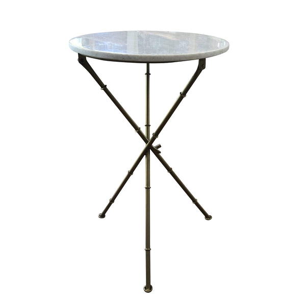 Gaudion Furniture Coffee Table & Side Tables Marble and Gold Cross leg side table
