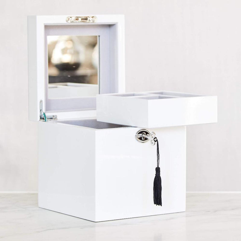 Gaudion Furniture Jewellery 1 x Medium White Jewellery Box Jewellery Box White Chloe Medium