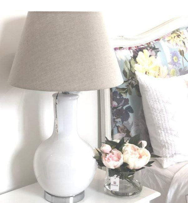 Gaudion Furniture Lamp 1 x Linen Shade Sarah Base Sarah White Ceramic Lamp & Shade