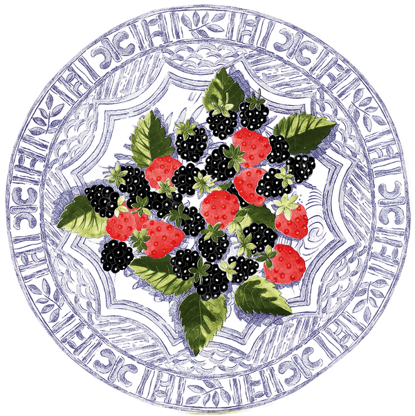 Gaudion Furniture Plate Oiseau Bleu Fruits Cake Plate