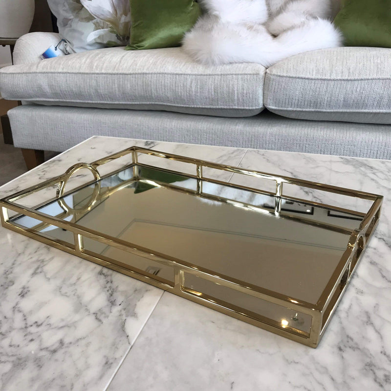 Gaudion Furniture Tray 1 x Gold Mirror Tray Tray Mirrored Gold