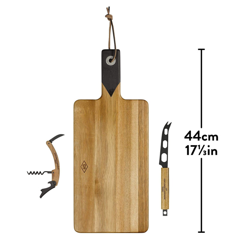 Gentlemens Hardware Cheese board Cheese Board with Knife Set & Wine Opener