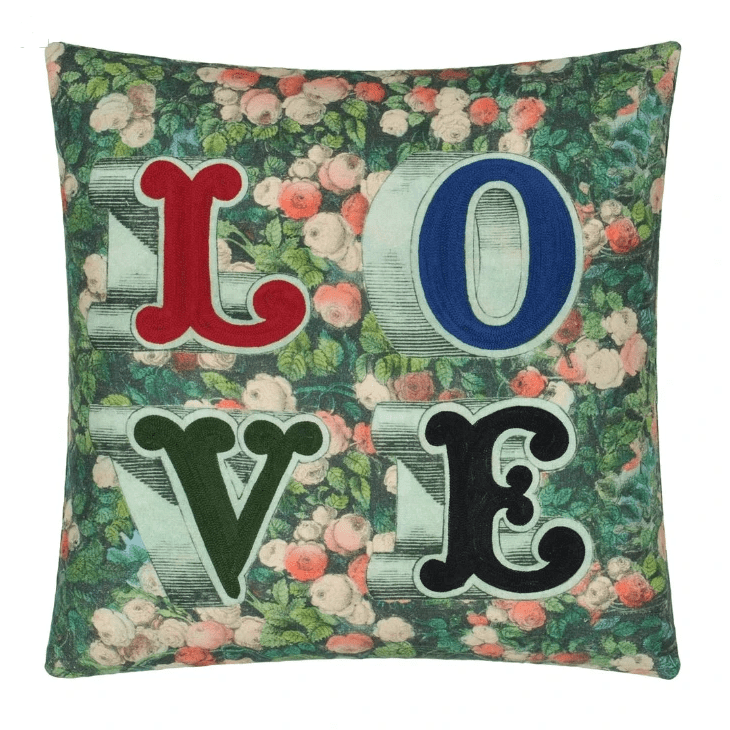 John Derian Cushions 1 x Love Forest Cushion John Derian Love Forest Cushion