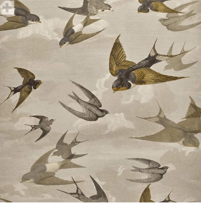 John Derian Wallpaper 1 x Roll John Derian Chimney Swallows 6003/03 John Derian Chimney Swallows Wallpaper 4 Colours