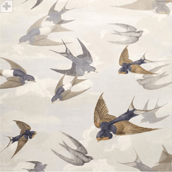 John Derian Wallpaper 1 x Roll John Derian Chimney Swallows 6003/04 John Derian Chimney Swallows Wallpaper 4 Colours