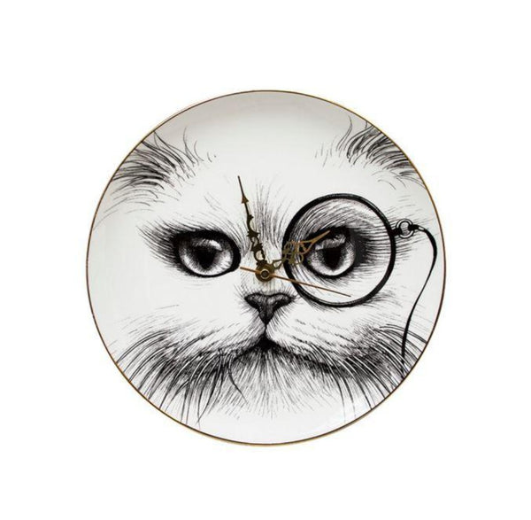 Rory Dobner Clock 1 x Clock Cat Monocle  27 cm Large Clock - Cat Monocle