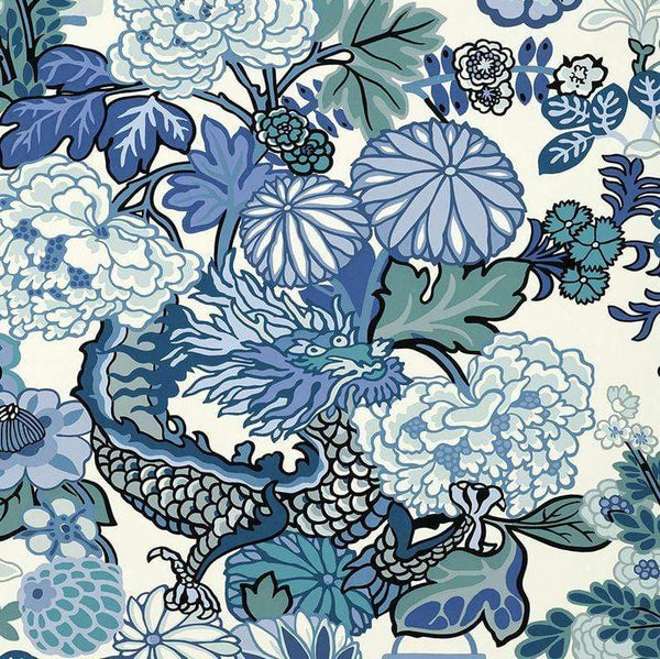 Schumacher Wallpaper 1 x China Blue  Chiang Mai Dragon Wallpaper Roll Schumacher Chiang Mai Dragon Wallpaper 9 Colours